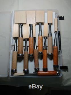 10 Pcs Set Japanese Vintage Woodworking Carpentry Tools Chisel Nomi Rare F/S P5