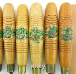 11 Vtg Henry Taylor Carving Chisels Tools England Carpentry Woodworking w\ pouch