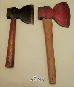 2 antique broad axes collectible woodworking carving tools bench hatchet axe lot