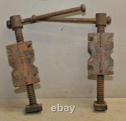 2 cast iron bench screws vise woodworking tool antique vintage collectible lot