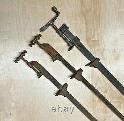 3 Antique Vintage Cast Iron Bar Clamp Woodworking Tool 36 (2) Hargrave 458A