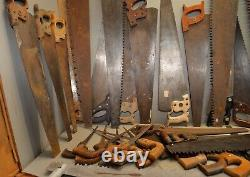 32 vintage collectible handsaw woodworking saw lot craft paint tool parts repair