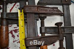 4 Clamps, (3) Hartford Clamp Co Woodworkers Bar Clamps (1) Wetzler Clamp Co