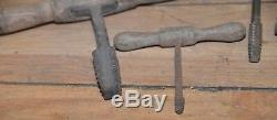 5 Rare antique wood thread taps collectible tool lot wood handle tap woodworking
