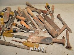 50 vintage wood chisel collectible woodworking carving parts repair tool lot