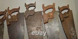 7 antique hand saw Disston & more collectible woodworking parts repair lot N7