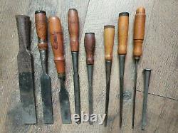 9 Vintage Antique Buck Brothers Chisels Woodworking Tools Carpentry Cast Steel