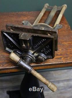 Antique 1903 CA HERRIMAN No 17 QUICK RELEASE BENCH VISE Wood Working Vintage