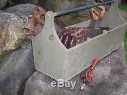 Antique Carpenter Woodworking Hand Saw Tool Caddy Lot Disston Primitive Decor