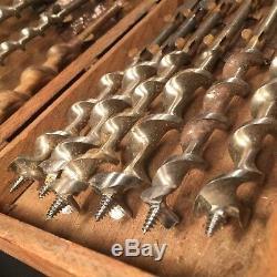 Antique Drill Bit Set Irwin Auger 13 Piece Wooden Tool Box Woodworking PRIORITY