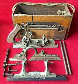 Antique Stanley Combination Plane #45 Woodworking Tool in Wood Box with Cutters