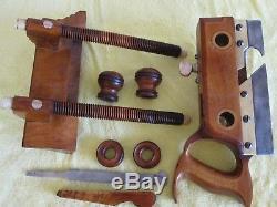 Antique Vintage Boxwood Bone, Brass & Steel Screw Arm Plow Woodworking Plane