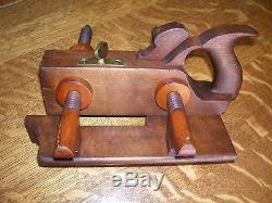 Antique Vintage Boxwood Brass & wood Arm Plow Woodworking Plane Tool