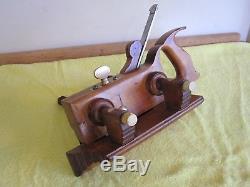 Antique Vintage Boxwood Ivory Brass & Steel Screw Arm Plow Woodworking Plane