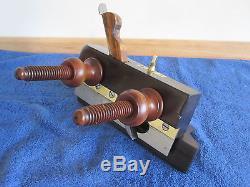 Antique Vintage Brazilian Rosewood Brass & Steel Plow Woodworking Plane #343