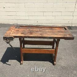 Antique Vintage Carpenter Woodworking Bench Maple with Vise