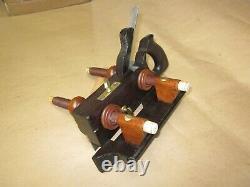 Antique Vintage Rosewood Bone Brass & Steel Screw Arm Plow Woodworking Plane