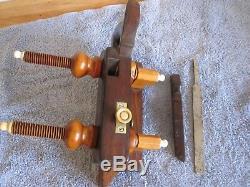 Antique Vintage Rosewood Ivory Brass & Steel Screw Arm Plow Woodworking Plane