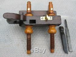 Antique Vintage Rosewood Screw Arm Brass & Steel Woodworkers Plow Plane Tools