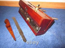 Antique Vintage Rosewood Steel Arm & Brass Plow Woodworking Plane Excellent Cond