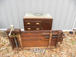 Antique/Vintage Wooden Woodworkers Work Bench with Double Vises