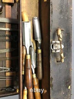 Antique woodworking tools-Dietzgen wood tool case
