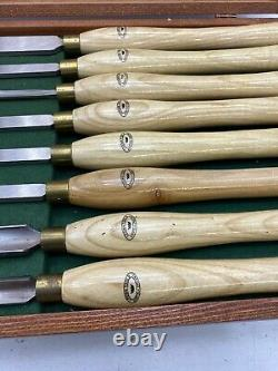 Crown Tools Sheffield England 8 Pc Lathe Set In Box Chisel Wood Turning