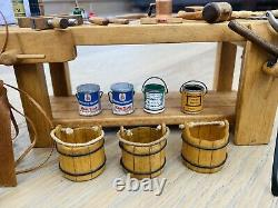 Dollhouse 28 Miniatures By Sir Thomas Thumb Woodworkers Bench Wooden, Tools, Cans