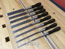 EBONY HANDLE JAMES SWAN FIRMER SET! Woodworking Chisels Cast Steel Antique