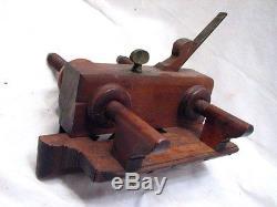 Geo Burnham Jr. Wooden Screw Arm Plow Plane Wood Working Tool Plough