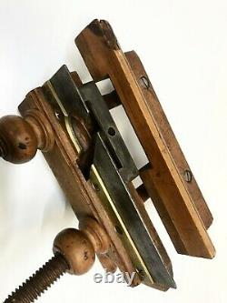 Geo Burnham Wooden Screw Arm Plow Plane Wood Working Tool Plough