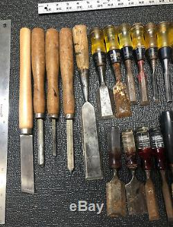 Huge Lot of 50+ Woodworking Chisels & Gouges Buck Stanley Japanese