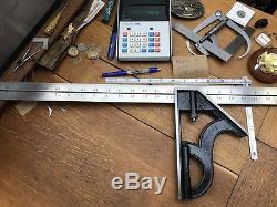 Huge Starrett Combination Square Head & 24 Rule Tool Machinist Woodwork 8H