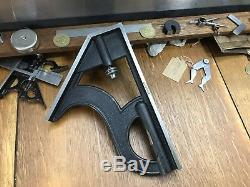 Huge Starrett Combination Square Head Tool Machinist Woodwork 8H No Bubble