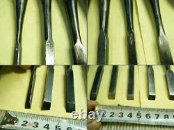 Japanese Chisel Nomi Carpenter Tool Inscription Set of 11 Woodworking Hand Tool