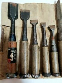 Japanese Chisel Nomi Carpenter Tool Inscription Set of 14 Woodworking Hand Tool