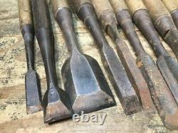 Japanese Chisel Nomi Carpenter Tool Inscription Set of 27 Woodworking Hand Tool