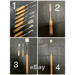 Japanese Chisel Nomi Tool Zensaku and other Woodwork Carpenter Set of 13 USED