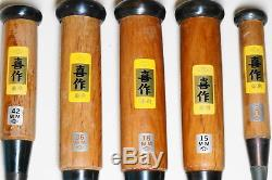 Japanese Chisel Nomi Vintage Woodworking Blade 3,15,18,36,42 mm Set of five