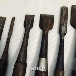 Japanese Chisel Round Nomi Carpenter Tool 9-Pieces Set Woodworking