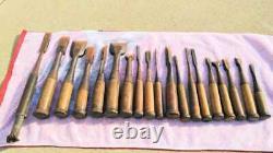 Japanese Vintage Chisel Nomi Carpentry Tools Set of 19 DIY Woodworking