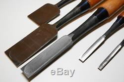 Japanese Vintage Nomi Woodworking Chisels Blade 6,9,18,36,42mm Set of five