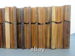 Job lot of 20 old wooden moulding planes vintage woodworking tools