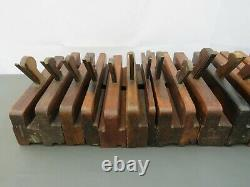 Job lot of 20 old wooden moulding planes vintage woodworking tools