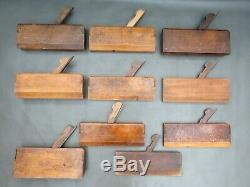 Job lot of 20 wooden moulding planes old vintage woodworkers woodworking tools