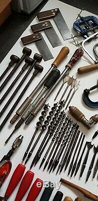Large Joblot Of Various Vintage Woodworking Tools Stanley Record Marples