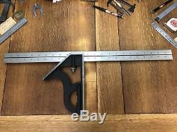 Massive Starrett 24 No. 8H Combination Square & Rule Machinist Woodwork 8