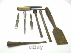 Mixed Antique & Vintage Lot Used Chisels Woodworking Punches Tools Sheffield