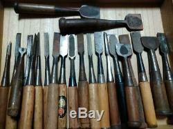 Oire 22 Pcs Set Japanese Vintage Woodworking Carpentry Tool Chisel Nomi Used