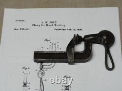 Patented 1881 Woodworking Clamp Colts Patent Cam Lever Action Vintage Wood Tool